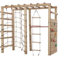 Aire de jeux Swing King, escalade, dim. 240x120x220 cm. avec avec filet, barre fixe, mur d'escalade et echelle en corde bokito