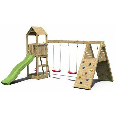 Aire de jeux toboggan balançoire et mur d'escalade Fleppi