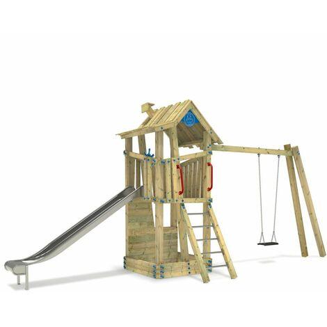 Aire de jeux WICKEY GIANT Treehouse G-Forcepour école ou camping avec une balançoire