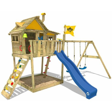 Aire de jeux WICKEY Smart Monkey avec toboggan bleu, bac à sable etbalançoire