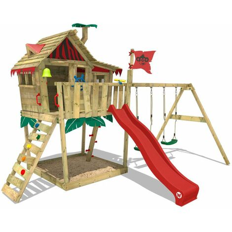 Aire de jeux WICKEY Smart Monkey avec toboggan rouge, bac à sable etbalançoire