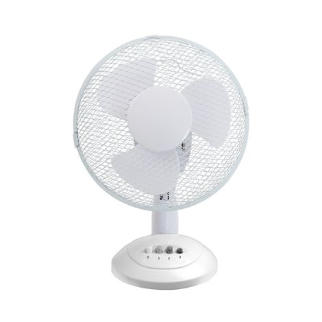 Airmaster TF12N 12 inch Oscillating & Tiltable 3 Speed White Desk Fan with easy clean safety grille