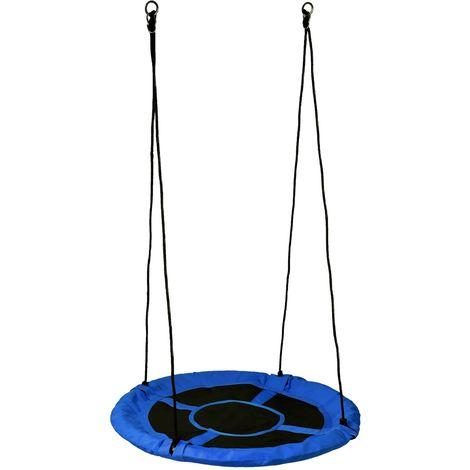 AIRON | Balançoire ronde nid d'oiseau enfant/adulte diamètre 100cm | Suspension balançoire intérieur/extérieur jardin max 150kg - Bleu