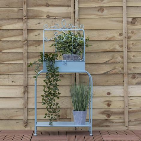 Airwave 2 Tier Metal Plant Stand - Duck Egg Blue