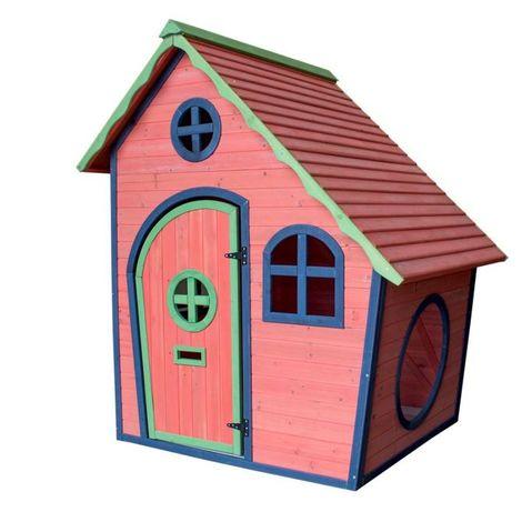 Airwave Adventure Childrens Wooden Playhouse - Red/navy/green