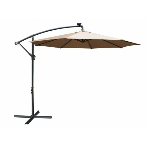 Airwave Apollo 3m Banana Cantilever Parasol with Built in LED Lights - Beige