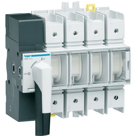 Aislador de Hager 4P 100A 8 módulos con rotary switch HAE410