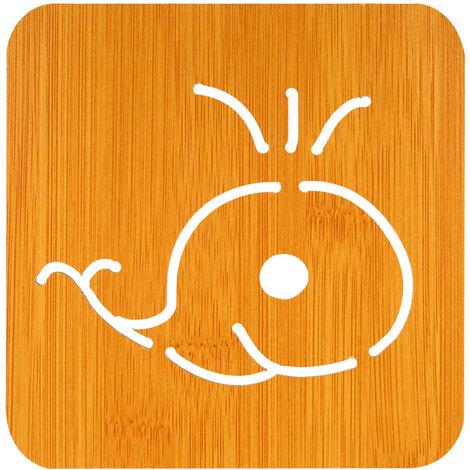 "Aislamiento termico Aislamiento Mat madera de bambu Estera a prueba de calor Trivet Mat Hot Pot Holder Mat tabla lindo 5,7 ""* 5.7"" * 0.18"" , ballena"