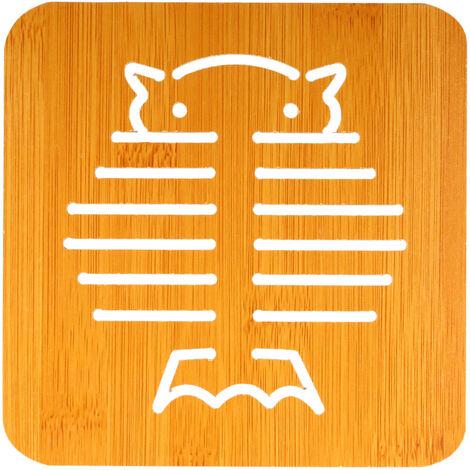 "Aislamiento termico Aislamiento Mat madera de bambu Estera a prueba de calor Trivet Mat Hot Pot Holder Mat tabla lindo 5,7 ""* 5.7"" * 0.18"" , buho"