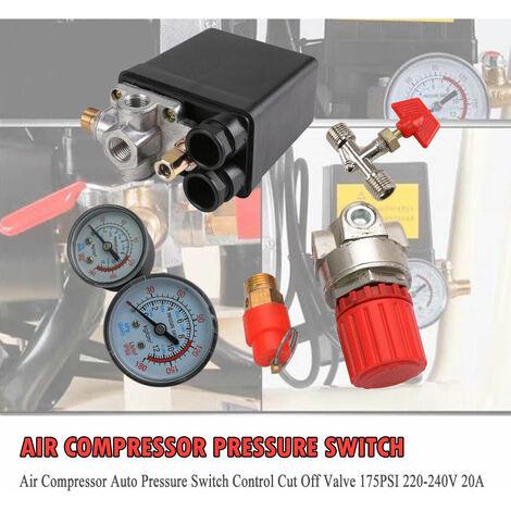 Ajustable Air Régulateur Compresseur Pression Contrôler De La Vanne De Pression du Compresseur d'air Changer Air Régulateur Soupape 20A 240V/CA Quatre des Trous