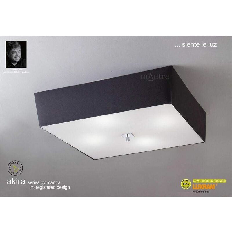 Image of Akira ceiling lamp 4 bulbs E27, polished chrome / frosted glass with black lampshade