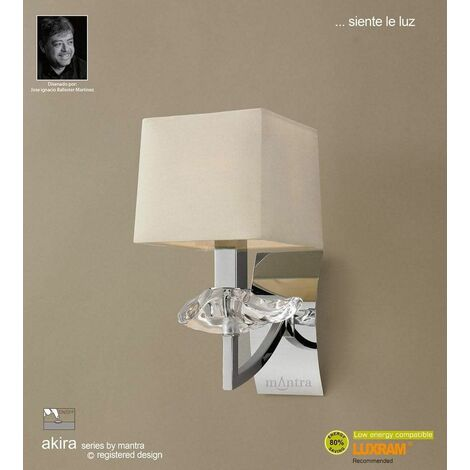 Akira wall light with 1-light switch E14, polished chrome with cream shade