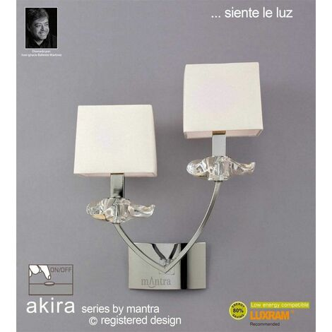 Akira wall light with 2-light switch E14, polished chrome with cream shade