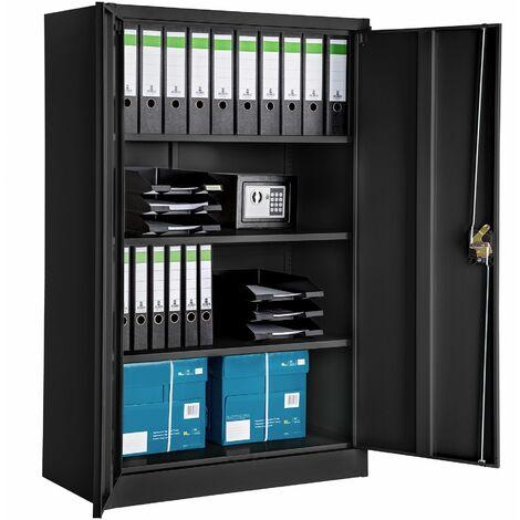 Aktenschrank mit 4 Böden - Büroschrank, Rolladenschrank, Hängeregisterschrank - schwarz - black