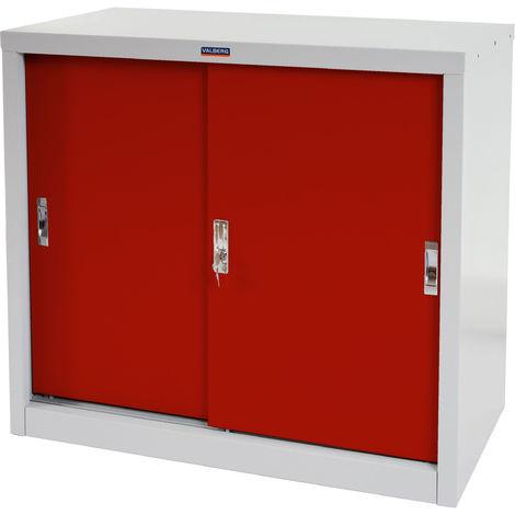 Aktenschrank Valberg HHG-633, Metallschrank Büroschrank Stahlschrank, 2 Schiebetüren 83x91x46cm ~ rot
