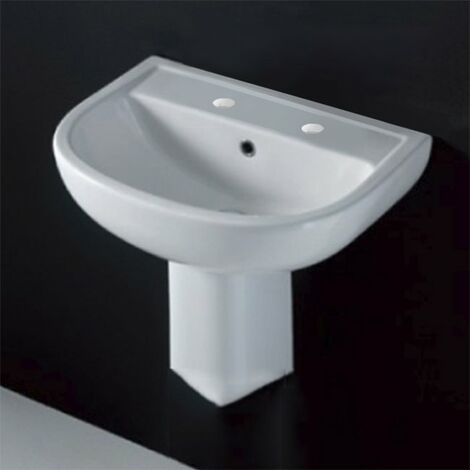 """main image of """"AKW Compact Basin with Semi Pedestal 450mm Wide - 2 Tap Hole"""""""