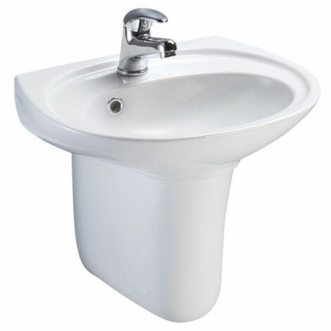 AKW Livenza 450mm Basin and Semi Pedestal - 1 Tap Hole