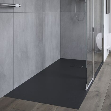 AKW Onyx Rectangular Shower Tray 1400mm x 800mm - Black