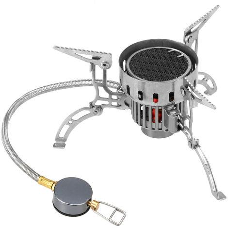 Al aire libre de infrarrojos estufa que acampa de la estufa portatil ultraligero Horno plegable a prueba de viento de gas Mini quemador para Cookout de la comida campestre, gris