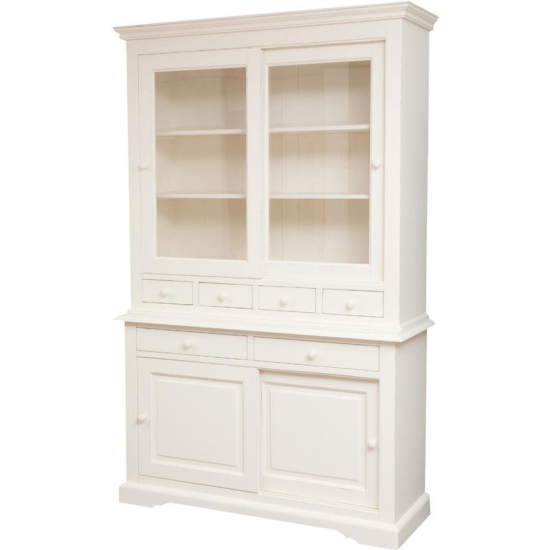 Biscottini - Alacena Country de madera maciza de tilo acabado con efecto blanco envejecido 142x50x225 cm