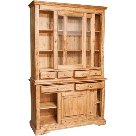 Alacena Country de madera maciza de tilo acabado con efecto natural 142x50x225 cm