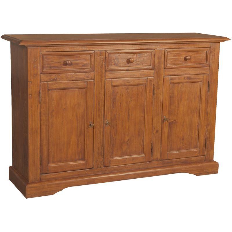 Biscottini - Alacena Country de madera maciza de tilo acabado con efecto nogal 156x45x103 cm