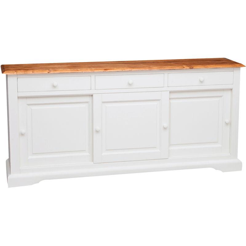 Alacena de estilo Country de madera maciza de estilo armazón blanco envejecido con efecto natural 197x50x91 cm - BISCOTTINI