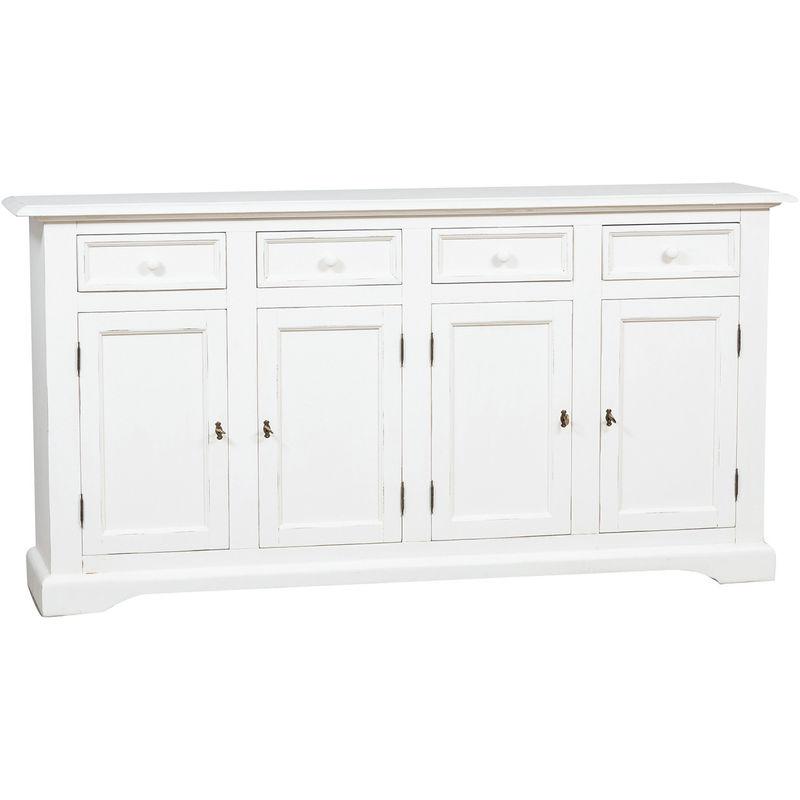 Alacena de estilo Country de madera maciza de tilo acabada con efecto blanco envejecido 202 x45x103 cm - BISCOTTINI