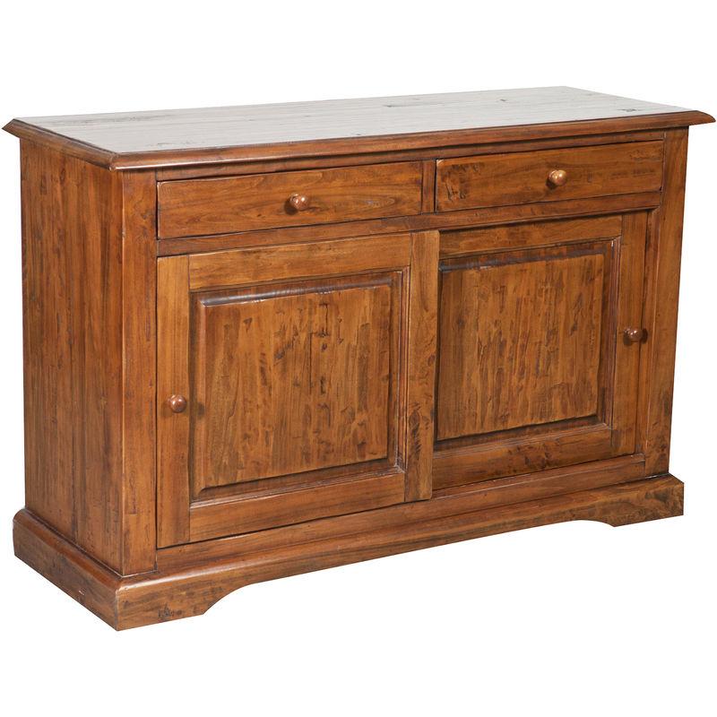 Biscottini - Alacena de estilo Country de madera maciza de tilo acabada con efecto nogal 142x50x90 cm
