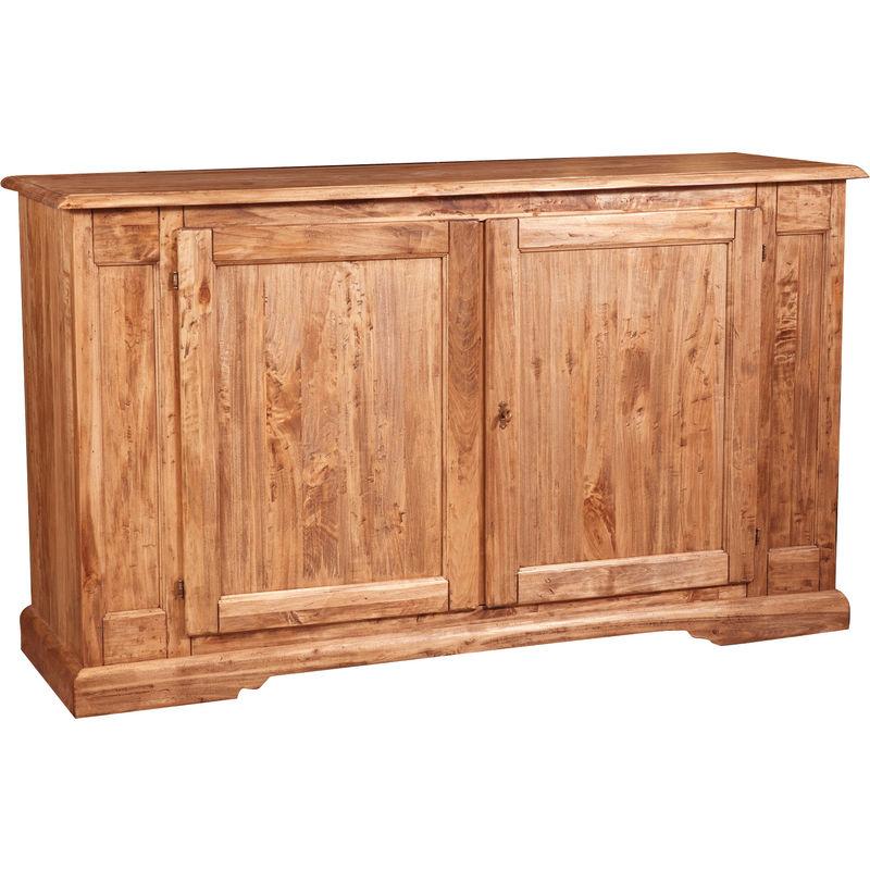 Alacena de estilo Country de madera maciza de tilo acabado con efecto natural 180x58x105 cm - BISCOTTINI