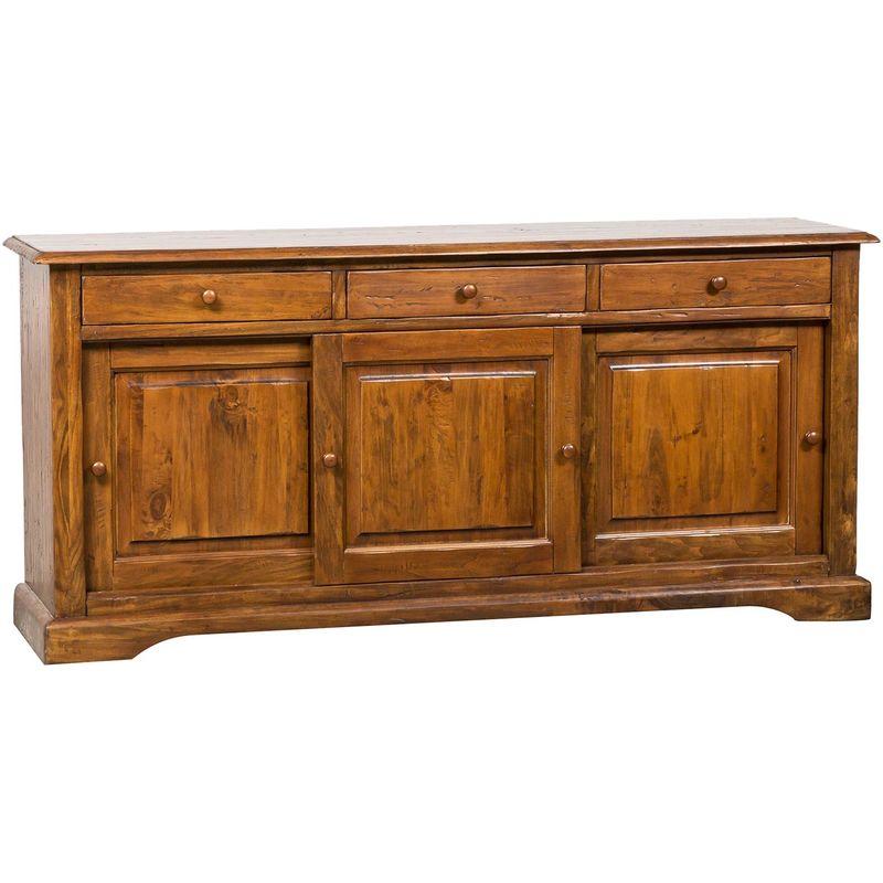 Biscottini - Alacena de estilo Country de madera maciza de tilo acabado con efecto nogal 197x50x91 cm