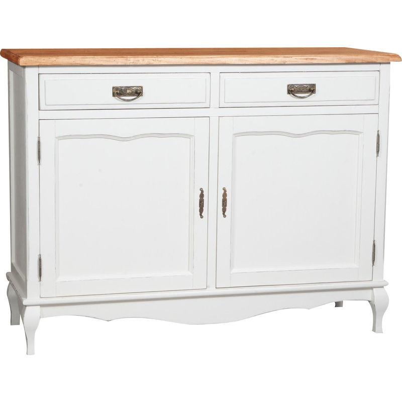 Biscottini - Alacena de estilo Country de madera maciza de tilo armazón blanco envejecido con plan acabado con efecto natural 123x42x92,5 c