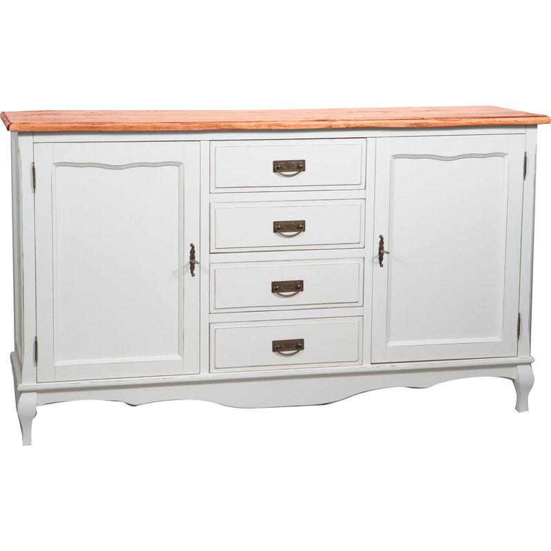 Biscottini - Alacena de estilo Country de madera maciza de tilo armazón con efecto blanco envejecido con plan acabado con efecto natural 160