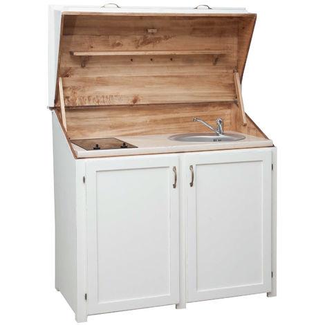 Alacena de la cocina de madera maciza de tilo acabado con efecto blanco envejecido L130xPR60xH115 cm