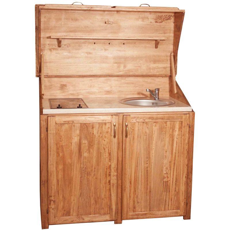 Biscottini - Alacena de la cocina de madera maciza de tilo acabado con efecto natural L130xPR60xH115 cm