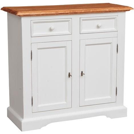 Alacena estilo Country de madera maciza de tilo armazón blanco envejecido acabado con efecto natural L110XPR45XH103 cm