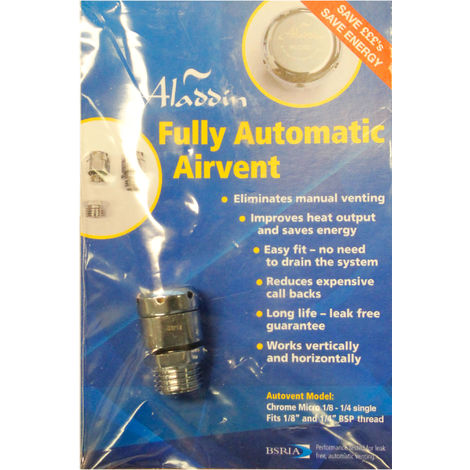 Aladdin Autovent Fully Automatic Radiator Micro 1/8 -1/4″ De-Aeration Valve - 1 Pack
