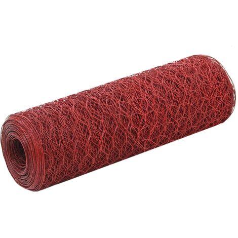 Alambrada de gallinero acero revestimiento PVC rojo 25x0,5 m - Rojo