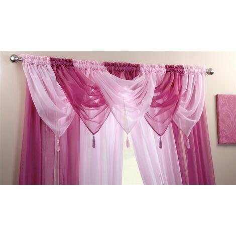Alan Symonds Plain Voile Curtain Swag Panel Cerise Tasseled