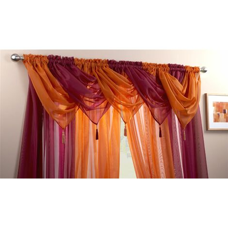 Alan Symonds Plain Voile Curtain Swag Panel Orange Tasseled