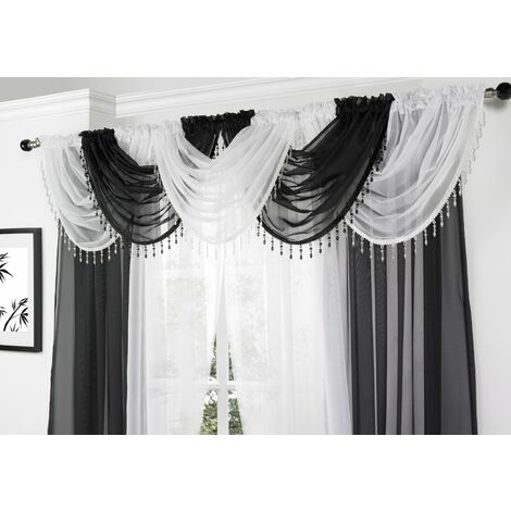 Alan Symonds Voile Curtain Swag Beaded Crystals Black