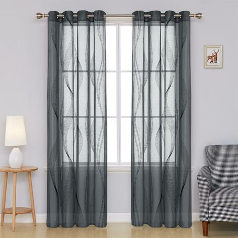 "Alan Symonds Wave Ring Top Curtain Panel 55"" x 90"" Charcoal/Black"