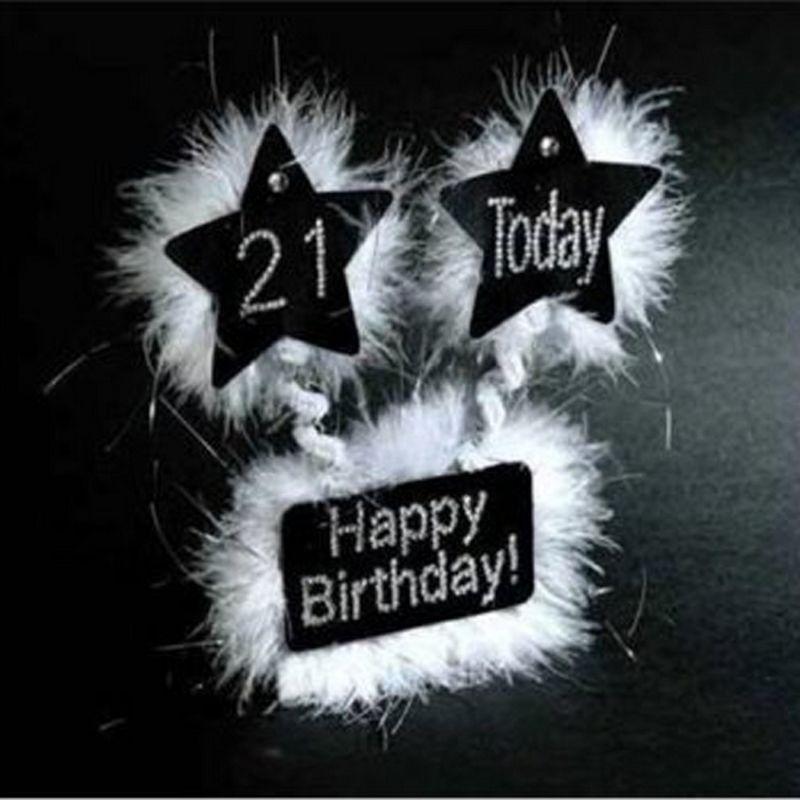 Image of 21st Birthday Diamante Table Display (One Size) (Black) - Alandra