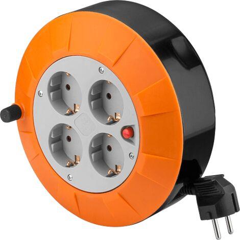 Alargadera electrica 4 tomas schuko 5 M Naranja