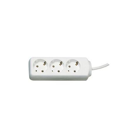 Alargador eléctrico 1,4 m 3 tomas, blanco (por 20)