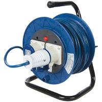 Alargador eléctrico industrial, 16 A, 230 V 25 m, 2 tomas