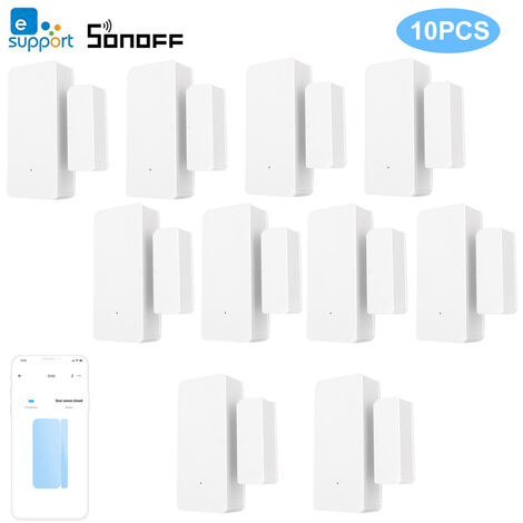 Alarma 10PCS SONOFF DW2 sensor Wifi ventana de la puerta sin hilos del sensor de alarma Abrir / Detectores cerrados inalambrico de automatizacion alarma antirrobo de e-APP Welink Notificacion de alertas de seguridad Smart Home