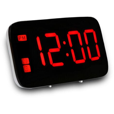 Alarma activada por voz Visualizacion del reloj LED Digital con el boton Snooze independiente 12/24 horas Programacion USB recargable para el recorrido Dormitorio Oficina, Azul