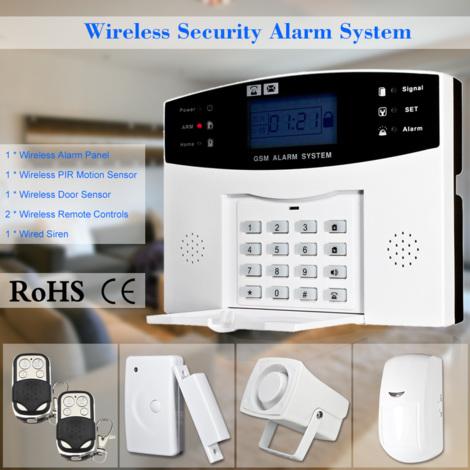 Alarma inalambrica GSM SMS Inicio Sistema de seguridad del ladron del detector del sensor kit de aplicacion de telefono de control remoto 433MHz 1527