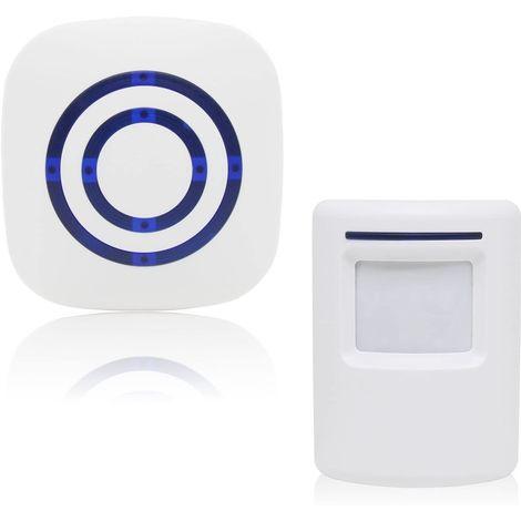 Alarme de passage/sonnette de magasin Système sans fil avec détecteur de mouvement/d'accès 38 sonneries Jusqu'à 100 m de portée